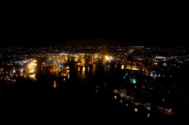 Aerial Picture of Aberden Harbour at Night