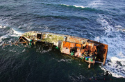 Aerial Picture of the Sovereign BF380 Shipwreck - Inverallochy