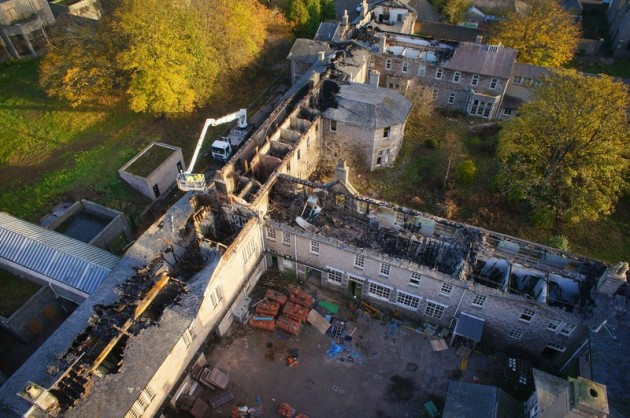 Fire Damaged Cornhill Hospital taken nine days after the fire