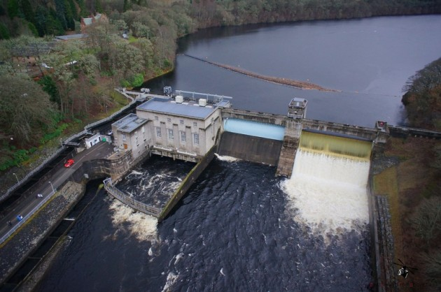 Aerial Picture of Pitlochry Dam on New Years day 2014