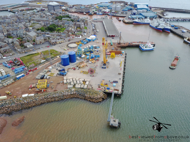 Aerial Picture of the Harbour Upgrades in Peterhead